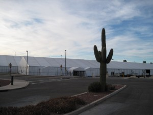 White tents dot Tucson in preparation for the Gem and Mineral Show